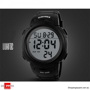 Mens Waterproof Digital Sports Watch Army Military Fashion Dress Water Resistant Black With White Accent Colour