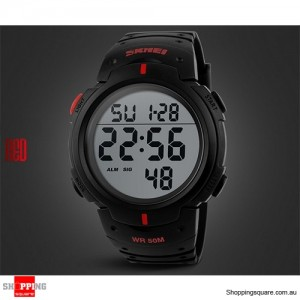Mens Waterproof Digital Sports Watch Army Military Fashion Dress Water Resistant Black With Red Accent Colour