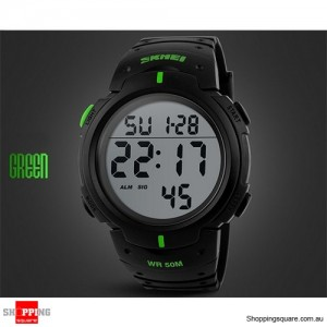 Mens Waterproof Digital Sports Watch Army Military Fashion Dress Water Resistant Black With Green Accent Colour