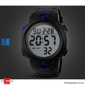 Mens Waterproof Digital Sports Watch Army Military Fashion Dress Water Resistant Black With Blue Accent Colour