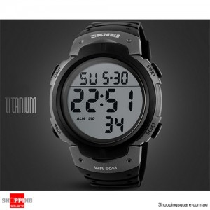 Mens Waterproof Digital Sports Watch Army Military Fashion Dress Water Resistant Titanium Grey Colour