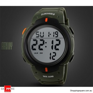Mens Waterproof Digital Sports Watch Army Military Fashion Dress Water Resistant Army Green Colour