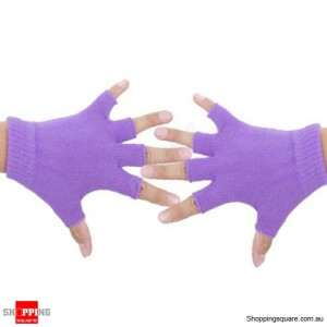 Yoga Fitness Fingerless Non-Slip Gloves Sport Gym Bike Cycling Hand Palm Support Purple Colour