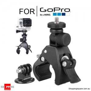 Bike Handlebar Clamp Roll Cage Mount Adapter for GoPro Hero 5 4 3+ 3 2