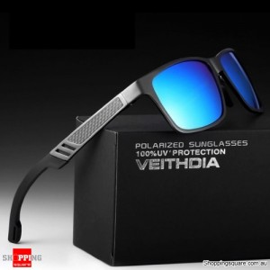VEITHDIA 6560 Aluminium Polarized Mirror Sunglasses for Outdoor Driving Fishing - Ice Blue Mirror with Gray Frame