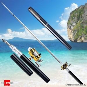 Small Pocket Telescopic Aluminum Alloy Pen-Shape Fishing Rod Pole & Reel Black Colour