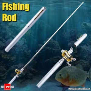 Small Pocket Telescopic Aluminum Alloy Pen-Shape Fishing Rod Pole & Reel Silver Colour