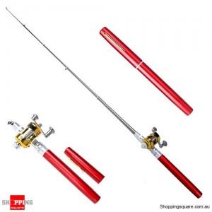 Small Pocket Telescopic Aluminum Alloy Pen-Shape Fishing Rod Pole & Reel Red Colour