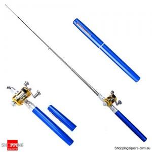 Small Pocket Telescopic Aluminum Alloy Pen-Shape Fishing Rod Pole & Reel Blue Colour