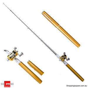 Small Pocket Telescopic Aluminum Alloy Pen-Shape Fishing Rod Pole & Reel Gold Colour