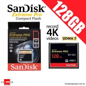 SanDisk Extreme Pro 128GB Compact Flash Memory Card 160MB/s for 4K Full HD DSLR Digital Cam