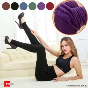 Ladies' Winter Fleece Lined Thick Warm Thermal Stretchy Slim Pants Leggings Purple Colour