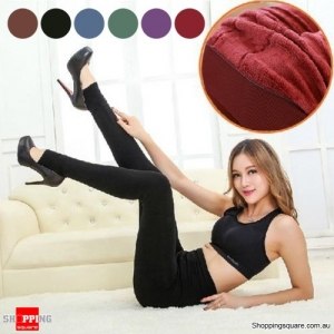 Ladies' Winter Fleece Lined Thick Warm Thermal Stretchy Slim Pants Leggings Red Colour