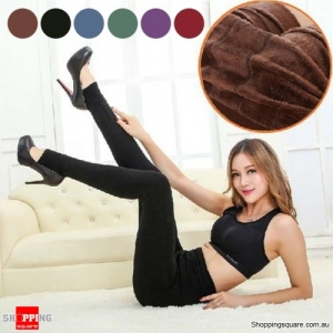 Ladies' Winter Fleece Lined Thick Warm Thermal Stretchy Slim Pants Leggings Coffee Colour