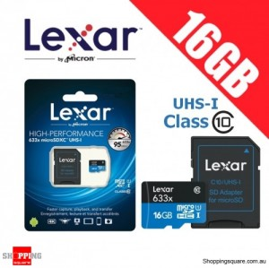Lexar 633x 16GB High Performance microSD UHS-I Class 10 TF Memory Card 95MB/s
