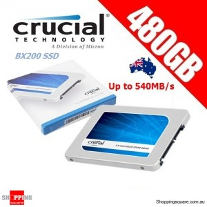 "Crucial BX200 480GB SATA 2.5"" 7mm (with 9.5mm adapter) Internal SSD Solid State Drive"
