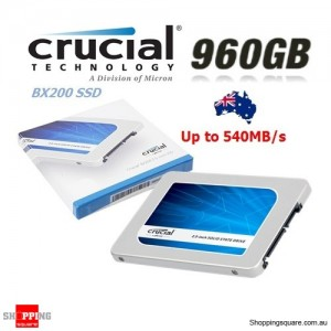 "Crucial BX200 960GB SATA 2.5"" 7mm (with 9.5mm adapter) Internal SSD Solid State Drive"