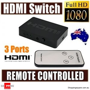 3 Port HDMI Splitter Switch Hub Box with Remote Control