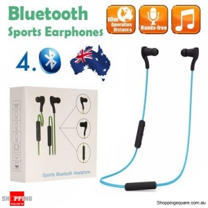 Bluetooth 4.0 Wireless Sports Earphones for iPhone Android Blue Colour