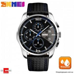 SKMEI 9106 Men's PU Leather Band Stylish Waterproof Analog Wrist Watch Blue Colour
