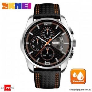 SKMEI 9106 Men's PU Leather Band Stylish Waterproof Analog Wrist Watch Orange Colour
