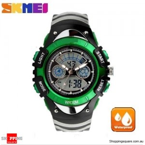 SKMEI Waterproof Quartz LED Digital Multifunctional Military 2 Time Zone Wristwatch for Children Green Colour