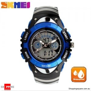 SKMEI Waterproof Quartz LED Digital Multifunctional Military 2 Time Zone Wristwatch for Children Blue Colour