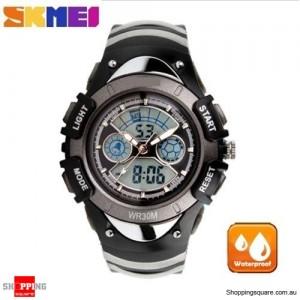 SKMEI Waterproof Quartz LED Digital Multifunctional Military 2 Time Zone Wristwatch for Children Black Colour