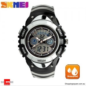 SKMEI Waterproof Quartz LED Digital Multifunctional Military 2 Time Zone Wristwatch for Children Silver Colour