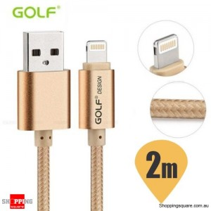 Golf 2M 8Pin to USB Sync Charging Cable for iPhone 7 6S 6 Plus 5S SE iPad Air Mini Gold Colour