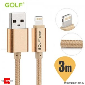 Golf 3M 8Pin to USB Sync Charging Cable for iPhone 7 6S 6 Plus 5S SE iPad Air Mini Gold Colour