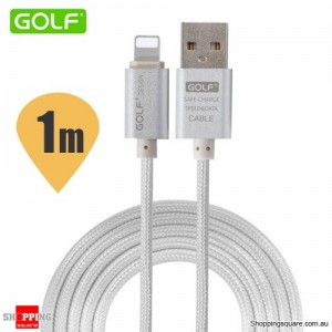 Golf 1M 8Pin to USB Sync Charging Cable for iPhone 7 6S 6 Plus 5S SE iPad Air Mini Silver Colour