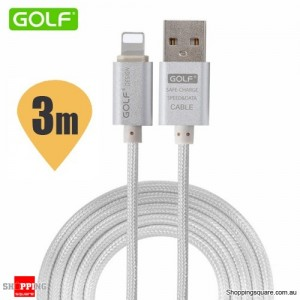 Golf 3M 8Pin to USB Sync Charging Cable for iPhone 7 6S 6 Plus 5S SE iPad Air Mini Silver Colour