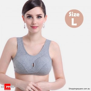 Women's Seamless Cotton Adjustable Shaping Bra Crop Top for Yoga Sports Sleep Light Grey Colour Size L