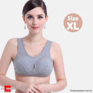 Women's Seamless Cotton Adjustable Shaping Bra Crop Top for Yoga Sports Sleep Light Grey Colour Size XL