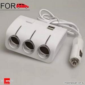 DC 12V Dual USB 3 Way Splitter Car Cigarette Lighter Socket Adapter Charger White Colour