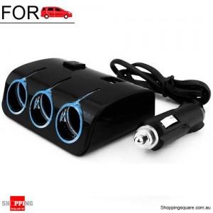 DC 12V Dual USB 3 Way Splitter Car Cigarette Lighter Socket Adapter Charger Black Colour