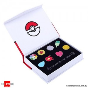 8pcs Set of Pokemon Gym Badges Crest Pin Kanto League Brooch Go With Box