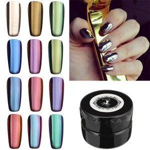 12-Colour Magic Mirror Chrome Effect Metallic Powder Set Nail Art Additive Pigment Silver