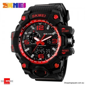 SKMEI 1155 Men's Water Resistant Digital Analog Double Display Sport Wrist Watch Red Colour