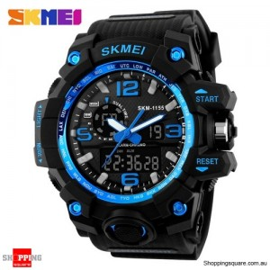 SKMEI 1155 Men's Water Resistant Digital Analog Double Display Sport Wrist Watch Black Colour Blue Colour