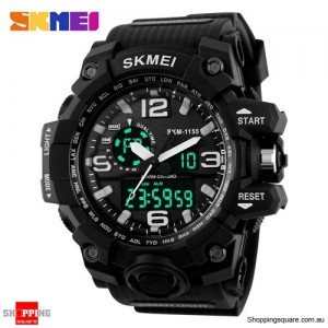 SKMEI 1155 Men's Water Resistant Digital Analog Double Display Sport Wrist Watch Black Colour