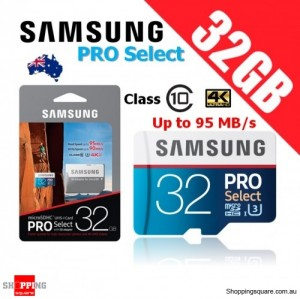 Samsung PRO Select 32GB microSDHC Memory Card UHS-I U3 95MB/s with Adapter