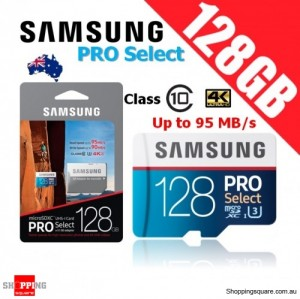 Samsung PRO Select 128GB microSDXC Memory Card UHS-I U3 95MB/s with Adapter