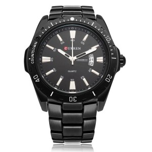 CURREN 8110 Date Sport Stainless Steel Men's Wrist Watch Battery Operated Black Colour