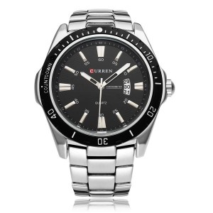 CURREN 8110 Date Sport Stainless Steel Men's Wrist Watch Battery Operated Silver Colour