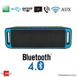Portable Bluetooth 4.0 Mini Wireless AUX Stereo Speaker with Mega Bass For Android iPhone Blue Colour