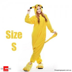 Pokemon Adult Anime Costume Pajamas for Sleeping Cosplay Party Go - Pikachu Size S