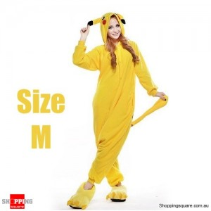 Pokemon Adult Anime Costume Pajamas for Sleeping Cosplay Party Go - Pikachu Size M