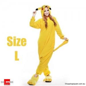 Pokemon Adult Anime Costume Pajamas for Sleeping Cosplay Party Go - Pikachu Size L